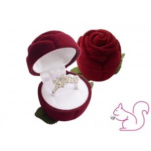 Bársony rózsa ékszertartó doboz, bordó
