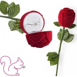 Bársony egész rózsa szárral ékszertartó doboz, piros