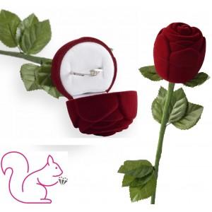 Bársony egész rózsa szárral ékszertartó doboz, bordó