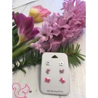 Pink fülbevaló szett, ezüst