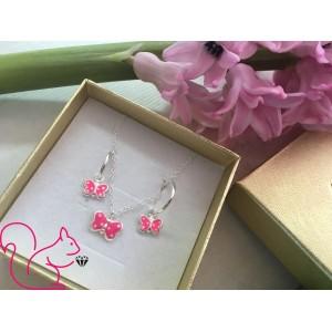 Pink pillangós ékszer szett, karika fülbevalós
