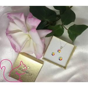 Színes virág szivárvány nyaklánc