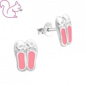 Balett cipős ezüst fülbevaló
