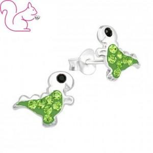 T-rex, zöld, ezüst fülbevaló