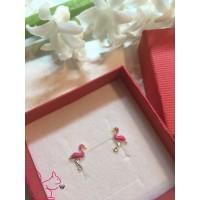 Flamingó, pink fülbevaló, ezüst
