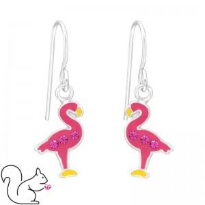 Flamingó, akasztós, pink fülbevaló, ezüst