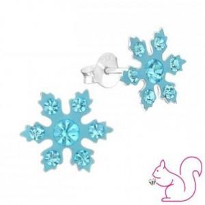 Hópehely fülbevaló, kék köves