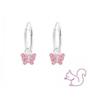 Rózsaszín köves pillangós karikafülvevaló
