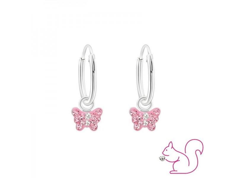 Rózsaszín köves pillangós karikafülbevaló