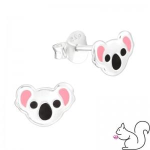 Koala fejes ezüst fülbevaló