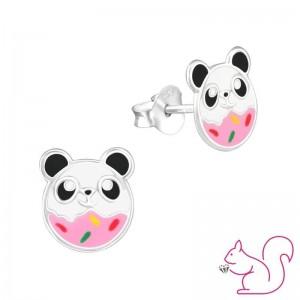 Panda fánk ezüst fülbevaló