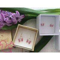 Swarovski pillangós fülbevaló, pink