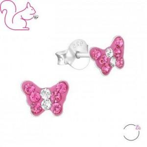 Pink pillangós fülbevaló