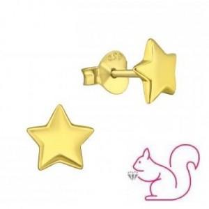 Csillag ezüst fülbevaló, aranyozott