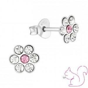 Virágos fülbevaló, ezüst, fehér
