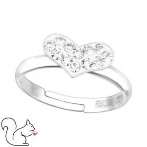 Szíves, köves gyűrű, ezüst, fehér köves