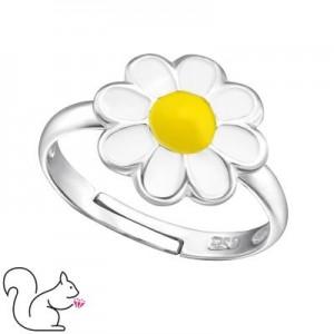 Virágos gyerek gyűrű, ezüst, margaréta