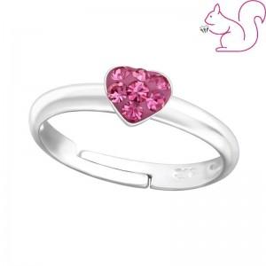 Szíves, köves gyűrű, ezüst, pink köves