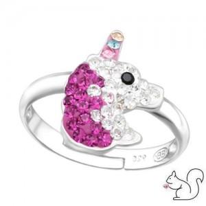 Egyszarvú kristály ezüst gyűrű