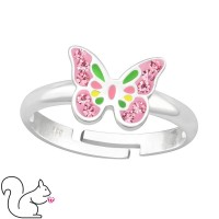 Gyönyörű pillangós kristály ezüst gyűrű
