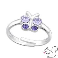 Lepkés kristály ezüst gyűrű