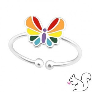 Pillangós színes ezüst gyűrű