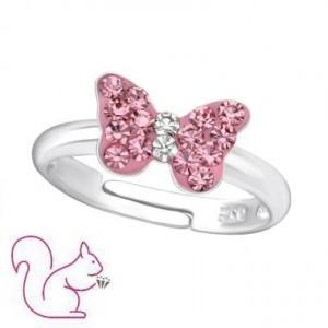 Pink köves, pillangós ezüst gyerek gyűrű