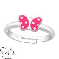 Pink fehér pöttyös lepkés ezüst gyűrű
