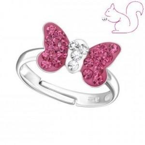 Pink köves, fehér köves ezüst gyerek gyűrű