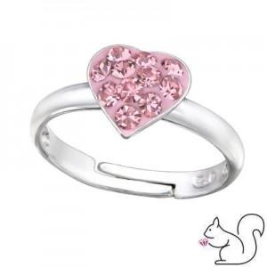 Szíves kristály ezüst gyermek gyűrű
