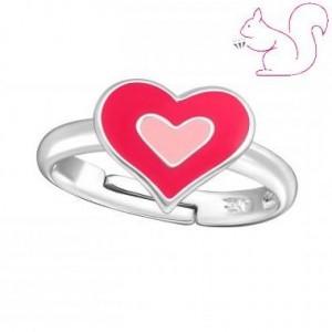 Rózsaszín szíves állítható gyerek gyűrű