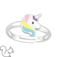 Egyszarvú fejes ezüst gyűrű