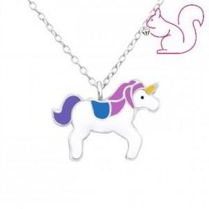 Unikornis ezüst gyerek nyaklánc, lila