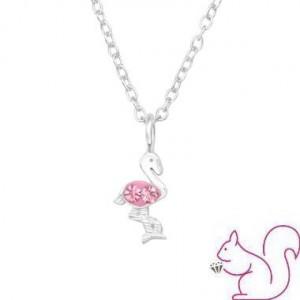 Flamingós ezüst kristály nyaklánc