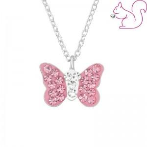 Pillangós, rózsaszín köves ezüst nyaklánc