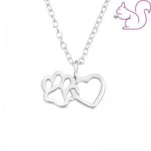 Szív és kutya mancs ezüst nyaklánc
