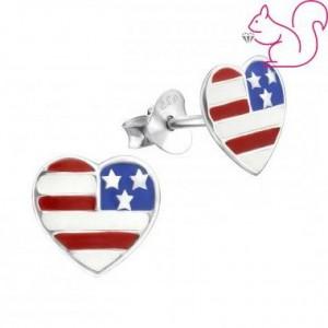 Amerika zászlós szív fülbevaló