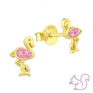 Flamingó stift fülbevaló, aranyozott