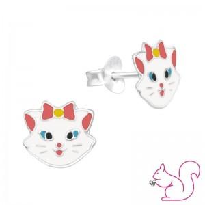 Macska fej ezüst fülbevaló