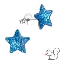 Glitteres csillagos ezüst fülbevaló, nagy