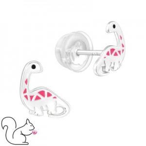 Brontoszaurusz, pink, ezüst fülbevaló