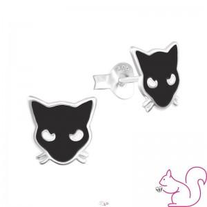 Fekete macska fülbevaló