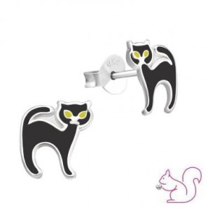 Fekete cicás fülbevaló, ezüst