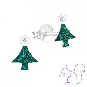 Fenyőfa ezüst fülbevaló