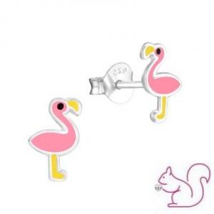 Flamingós ezüst fülbevaló