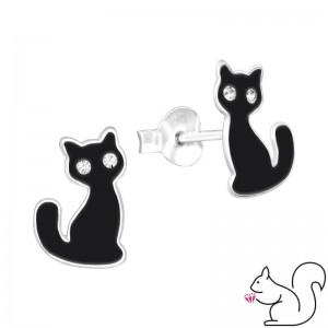 Halloweeni fekete macskás stift fülbevaló