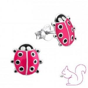 Katica színes fülbevaló, ezüst, pink
