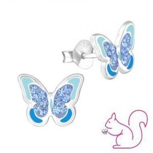 Kék köves pillangó ezüst fülbevaló