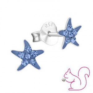 Tengeri csillag ezüst fülbevaló, kék