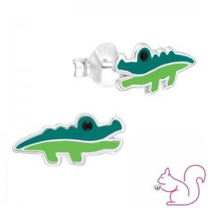 Krokodil ezüst stift fülbevaló